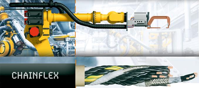 Novos cabos para calhas articuladas igus para o sétimo eixo dos robots