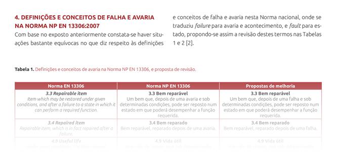 Conceitos e definições de falha e avaria nas Normas Portuguesas de Manutenção NP EN 13306:2007 e NP EN 15341:2009 – 2.ª Parte