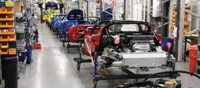 A linha de produção industrial