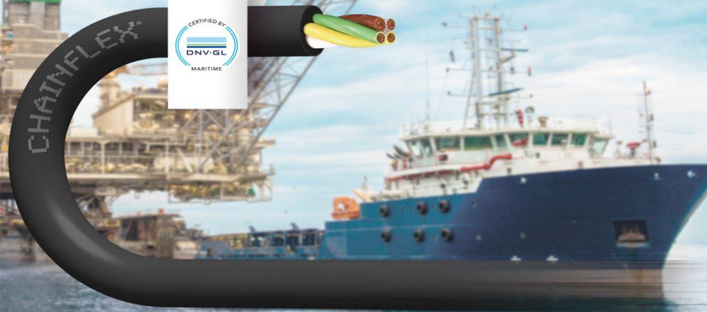 Cabos elétricos com certificação DNV GL para calhas articuladas